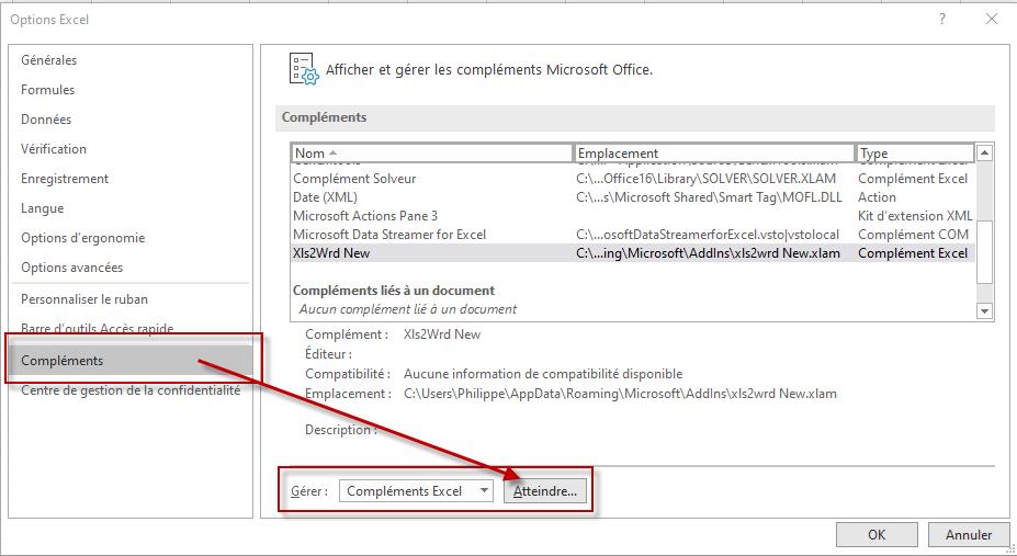Nom : dlg Afficher et gérer les compléments Microsoft Office (Options - Compléments).png Affichages : 91 Taille : 71,8 Ko