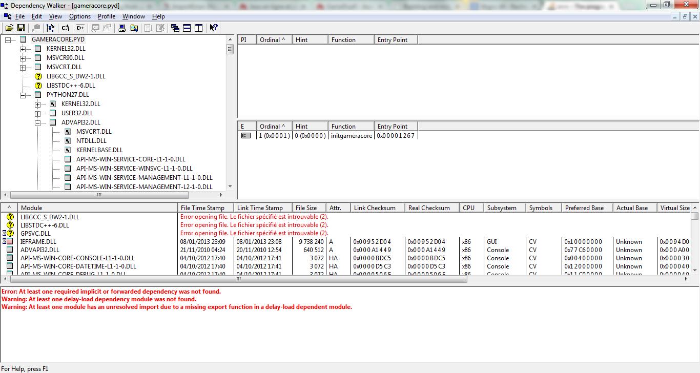 ImportError: DLL load failed: Le module spécifié est