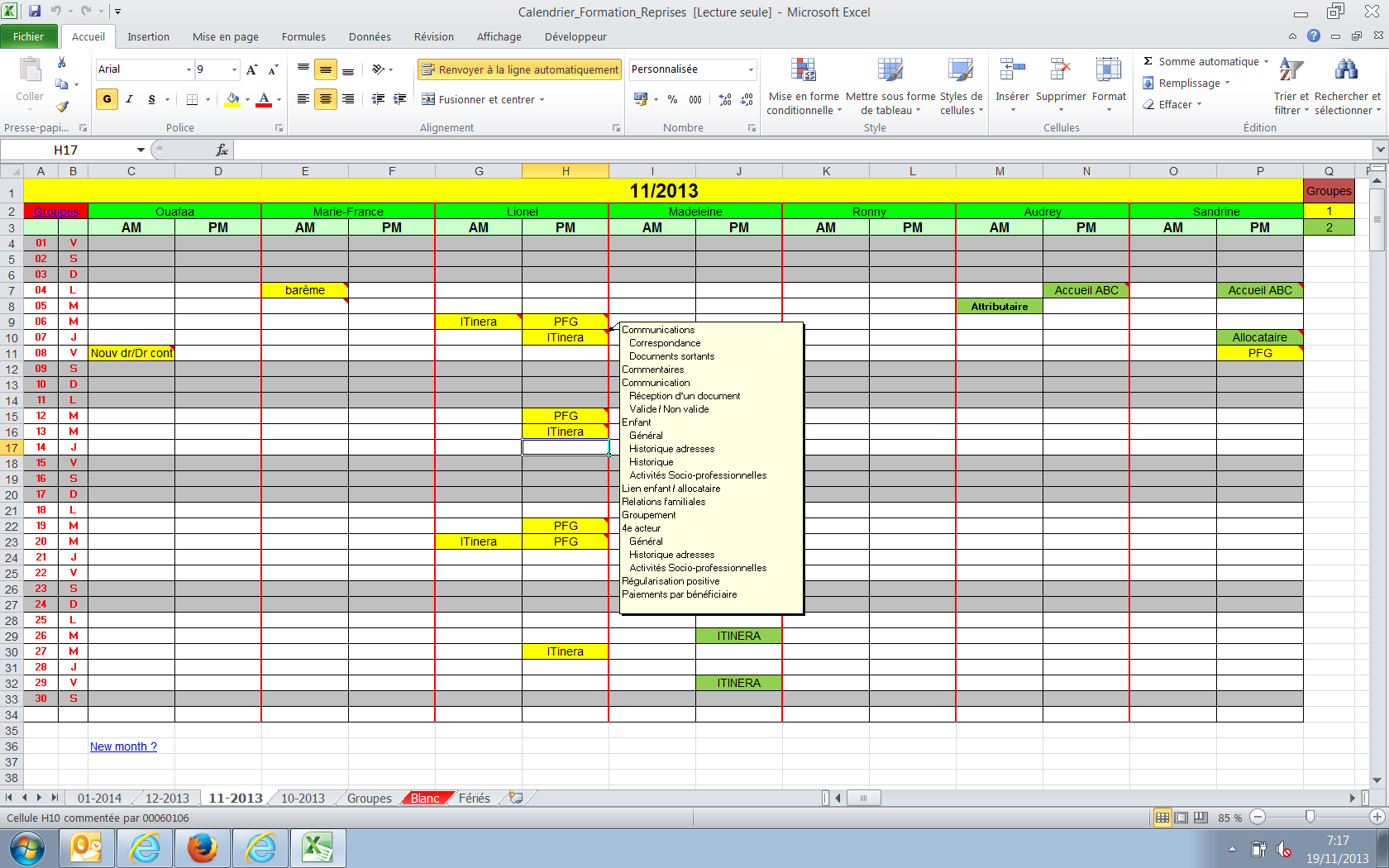 exemple planning formateur