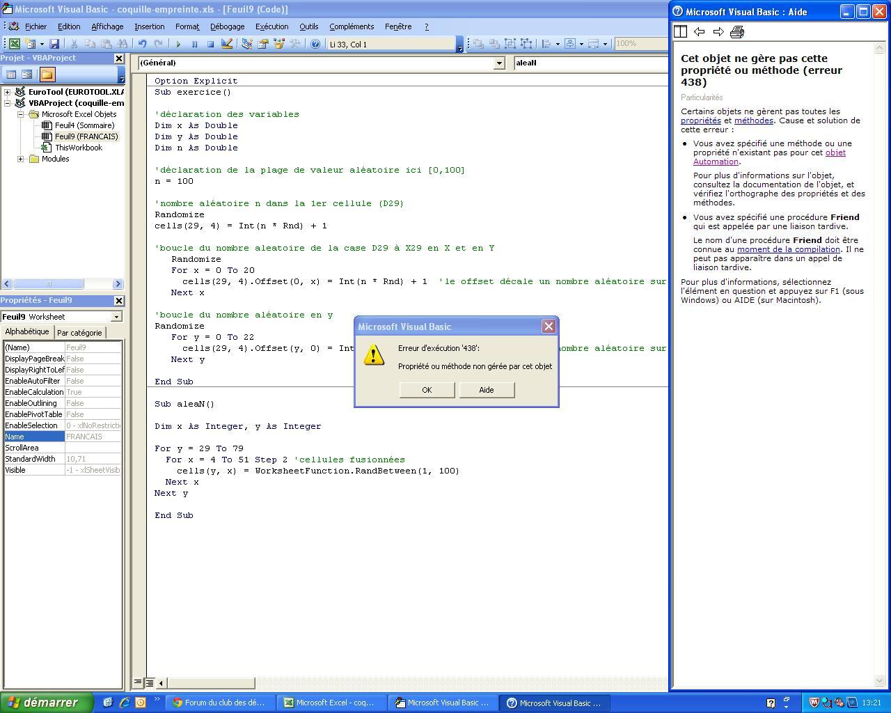 Xl 2003 Probleme Boucle Nombre Aleatoire