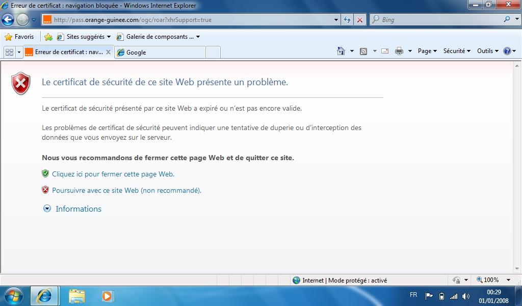 Le certificat de s curit de ce site web pr sente un probl me for Le site internet