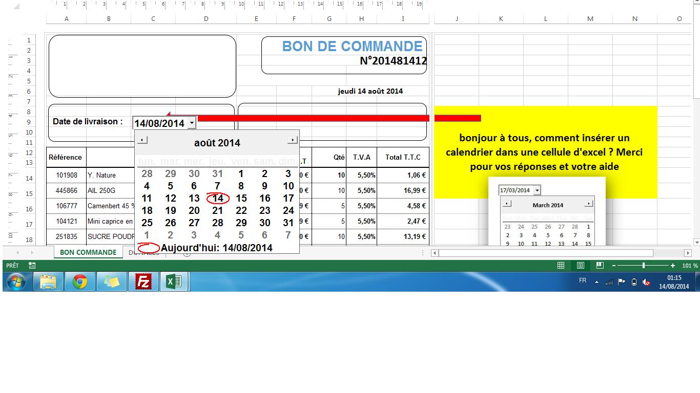 Xl 2013 Inserer Un Calendrier Dans Une Cellule Excel