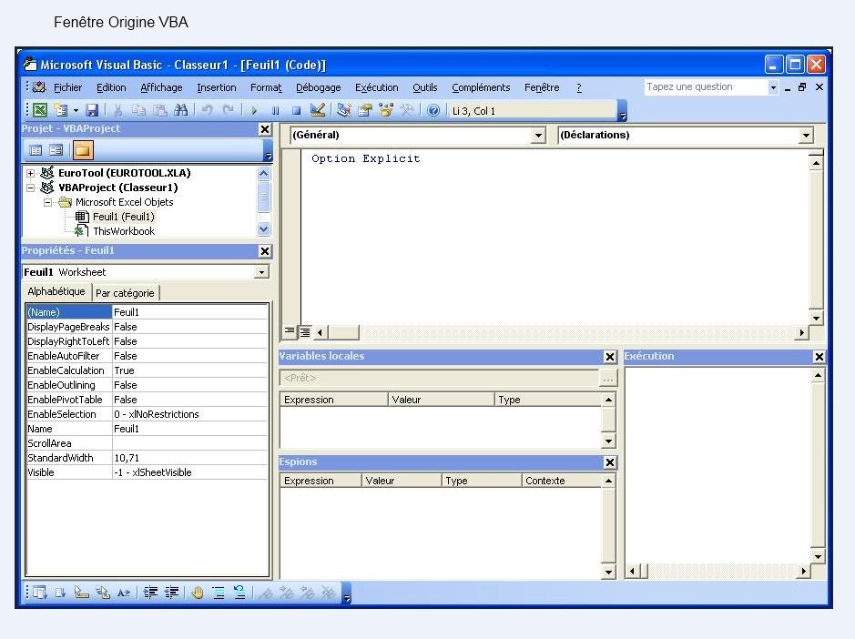 Xl 2007 comment retrouver la fen tre vba d 39 origine for Fenetre informatique