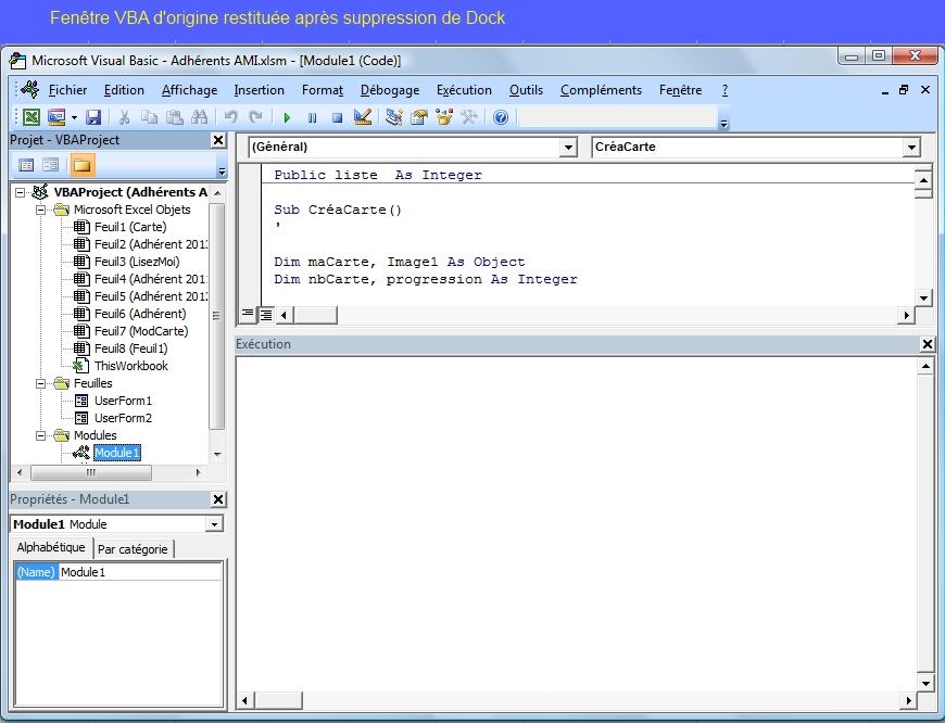 Xl 2007 comment retrouver la fen tre vba d 39 origine for Ouvrir plusieurs fenetre excel