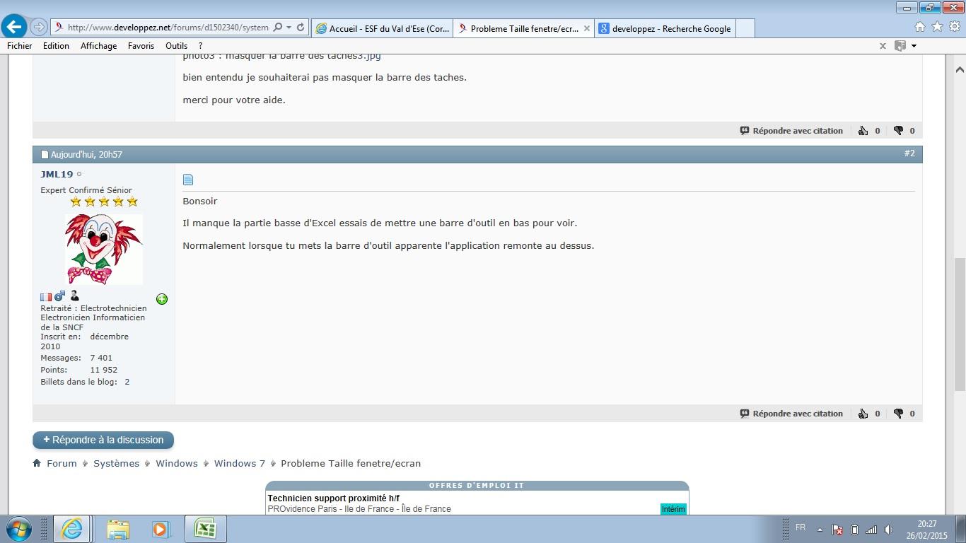 Probleme taille fenetre ecran for Fenetre windows 7