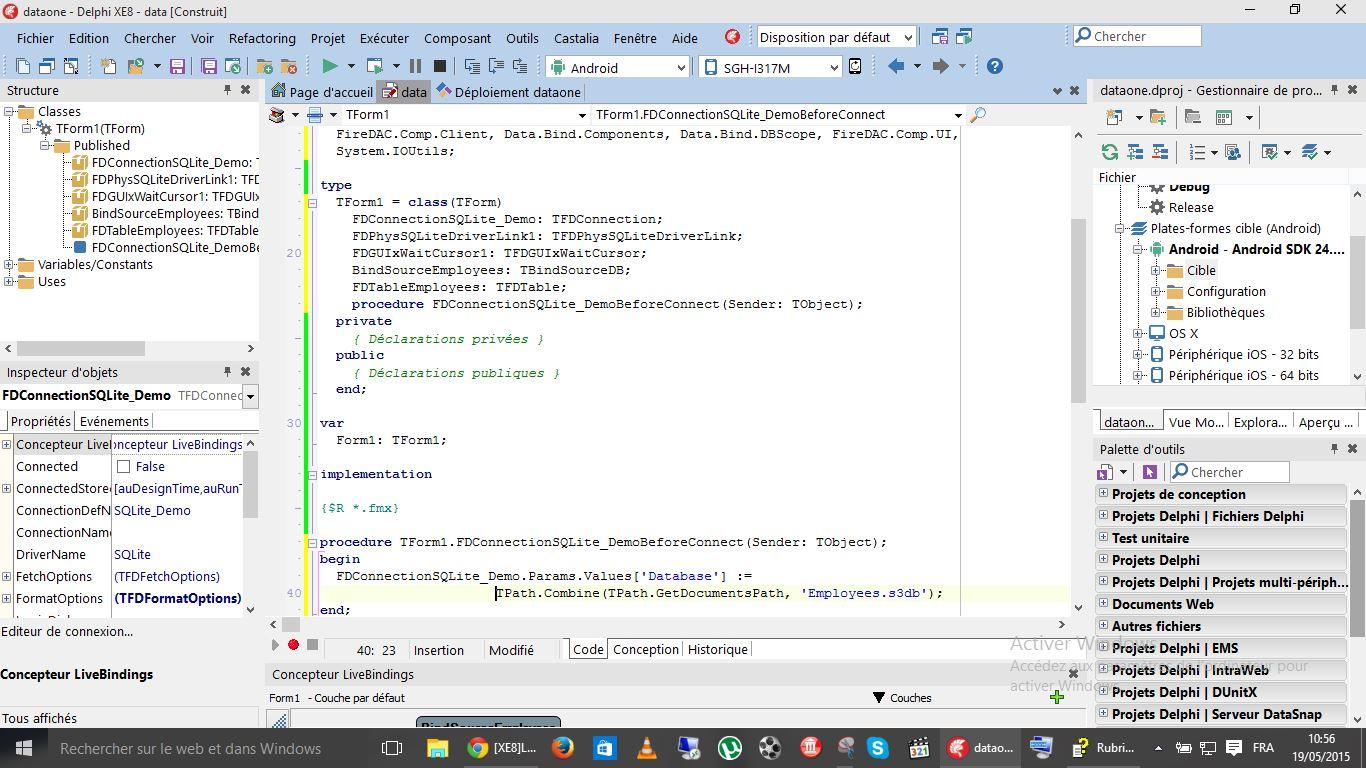 XE8]Probléme Application Android avec SQlite