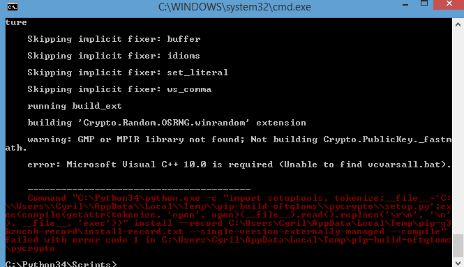 Crypto error unable to find vcvarsall.bat