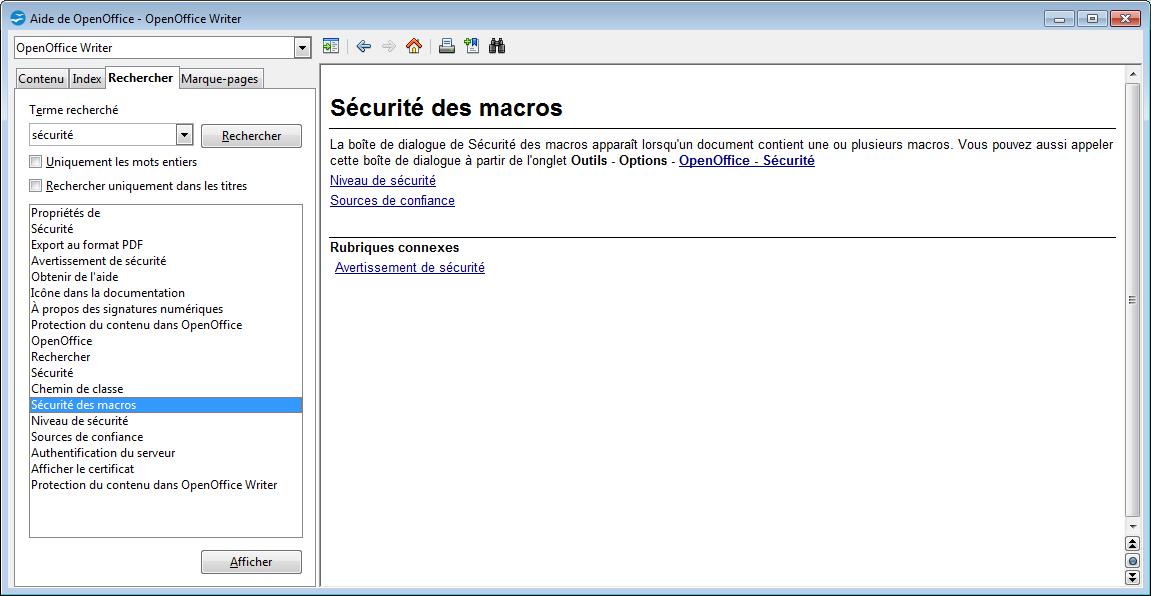 Openoffice Tableur Secutite Macros Personelles