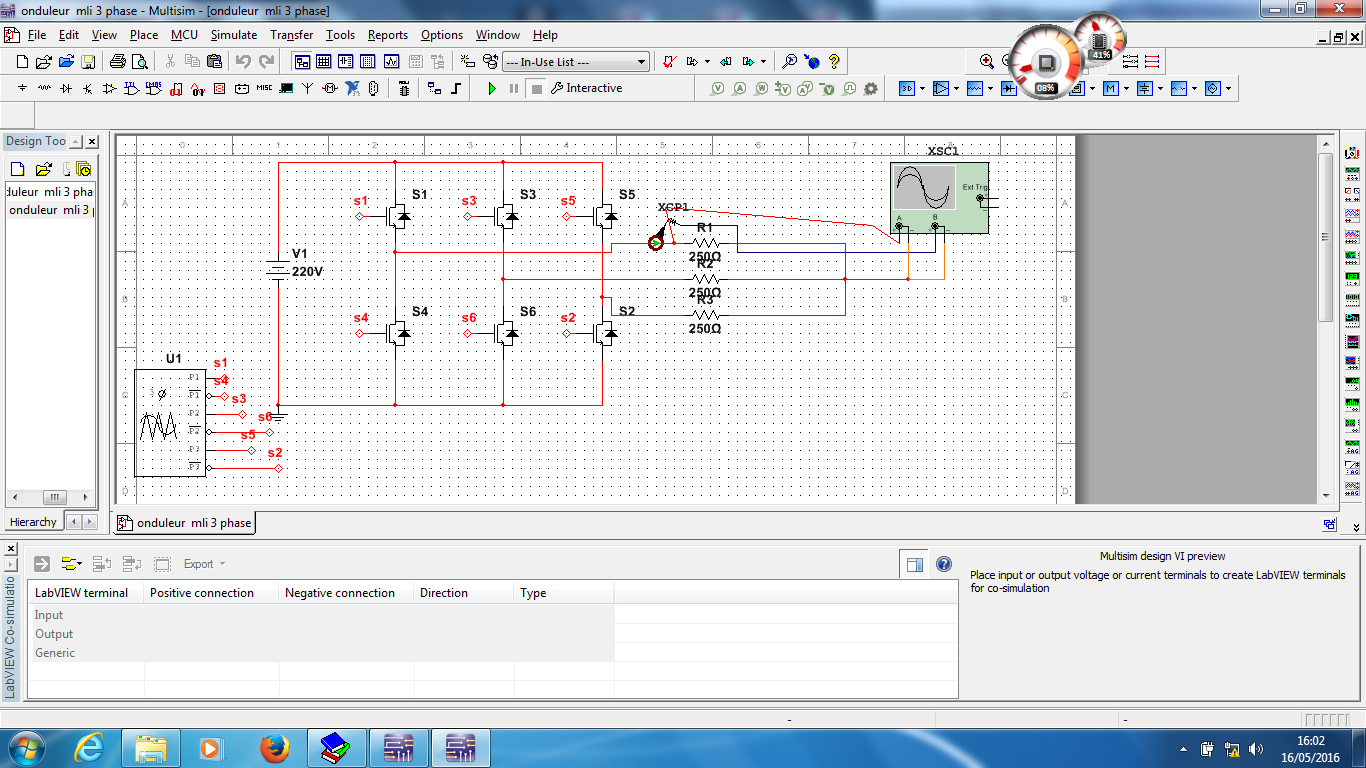 Phase pwm inverter labview and multisim co simulation