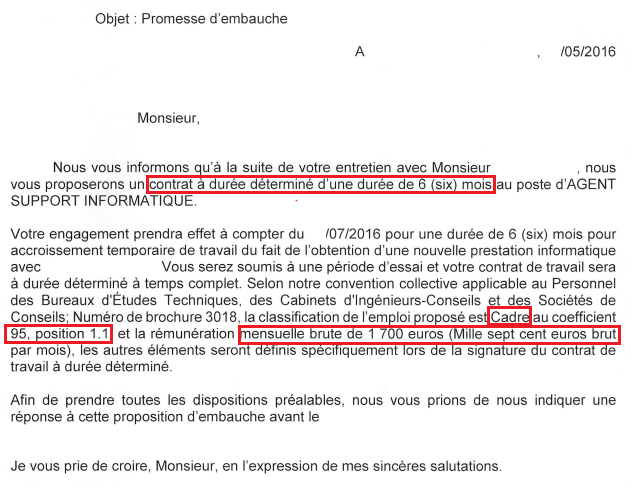 Promesse D Embauche Cadre Salaire Mini Coeff