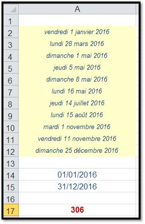 Xl 2010 Calcul Du Nombre De Jours Ouvrables Dans Une Plage De Dates