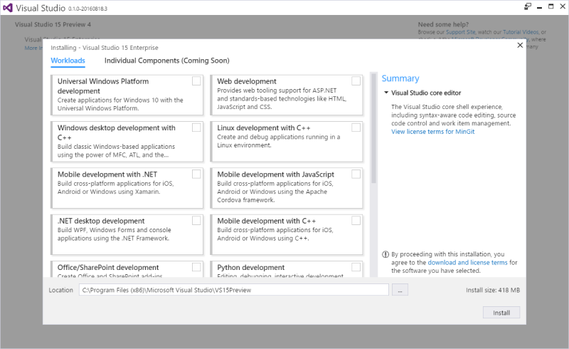 Nom : Visual Studio 15 Preview 4.png Affichages : 7118 Taille : 85,6 Ko