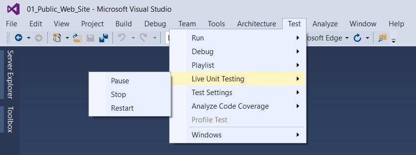 Nom : Live-Unit-Tests-under-Test-nav-drop-down.png Affichages : 9393 Taille : 32,0 Ko