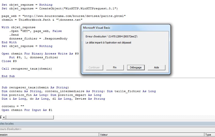 XL-2010] WinHTTP WinHTTPrequest 5 1 délai imparti trop long