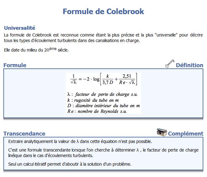 Nom : Formule de Colebrook.png Affichages : 48 Taille : 61,3 Ko