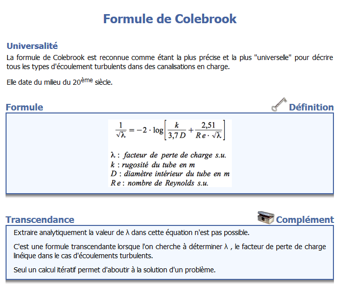 Nom : Formule de Colebrook.png Affichages : 28 Taille : 61,3 Ko