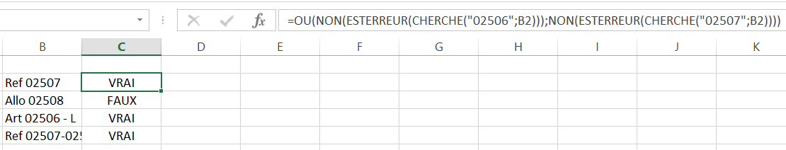 Fonction Si Contient Excel