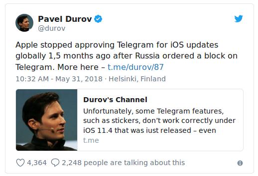 Telegram accuse Apple de bloquer ses mises à jour — IOS