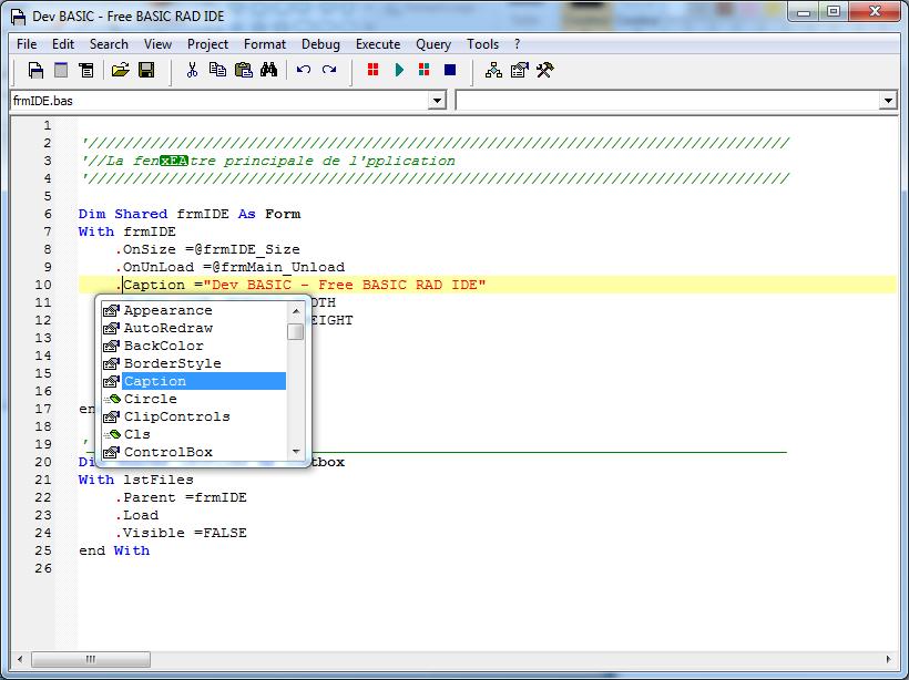 Projet Dev BASIC, un IDE RAD pour Free BASIC