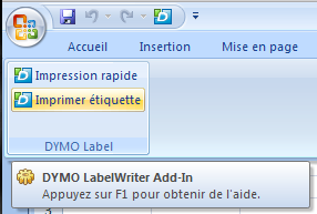 XL-2007] Bouton dans onglet Dymo Label