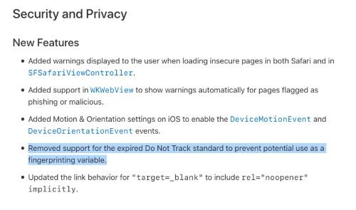 Apple retire la fonction Do Not Track — Safari