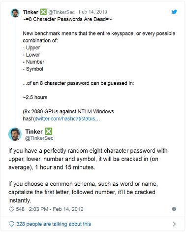 Les mots de passe Windows NTLM à 8 caractères peuvent être