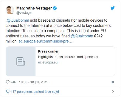 Concurrence: l'UE inflige 242 millions d'euros d'amende à Qualcomm - High tech