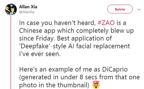 Chine : l'application de trucage vidéo Zao, entre succès et inquiétude