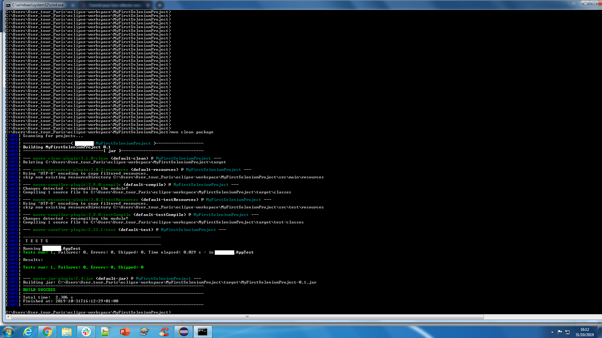 Nom : tuto_maven_output_mvn_clean_package.png Affichages : 305 Taille : 195,8 Ko