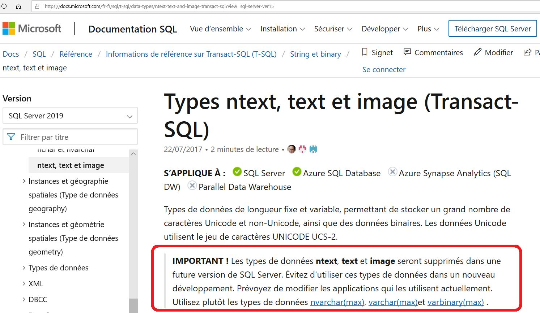 Nom : Type SQL Server text ntext image.jpg Affichages : 17 Taille : 189,1 Ko