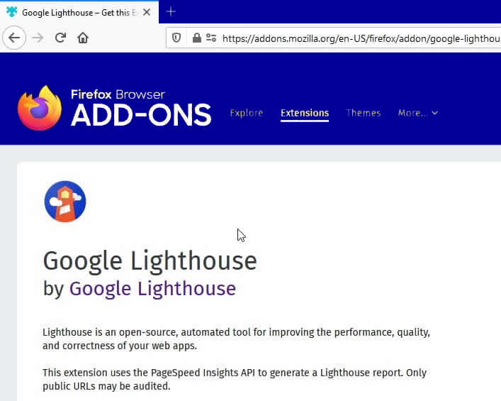 Nom : Google-Lighthouse-Firefox-extension.jpg Affichages : 6115 Taille : 46,3 Ko