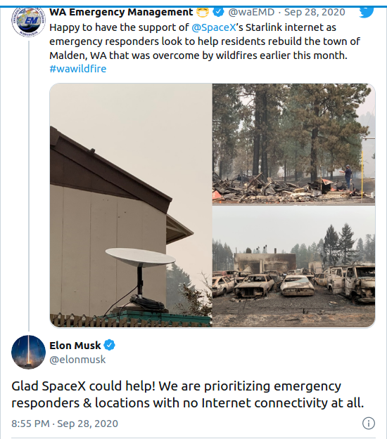 Nom : Screenshot_2020-09-30 Washington emergency responders first to use SpaceX's Starlink internet in.png Affichages : 5108 Taille : 357,8 Ko