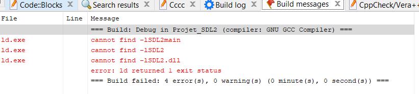 Nom : Erreur codeblocks SDL2.PNG Affichages : 74 Taille : 15,4 Ko