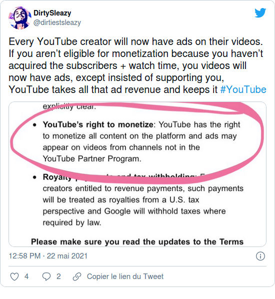 Nom : Screenshot_2021-05-24 Les créateurs de vidéos YouTube dénoncent la cupidité des entreprises aprè.png Affichages : 2798 Taille : 202,8 Ko