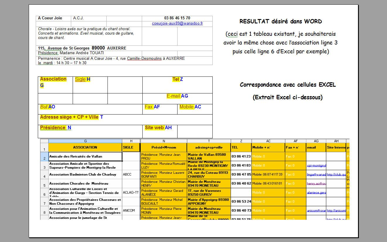 Wd 2007 Comment Remplir Tableaux Word Avec Donnees Excel En
