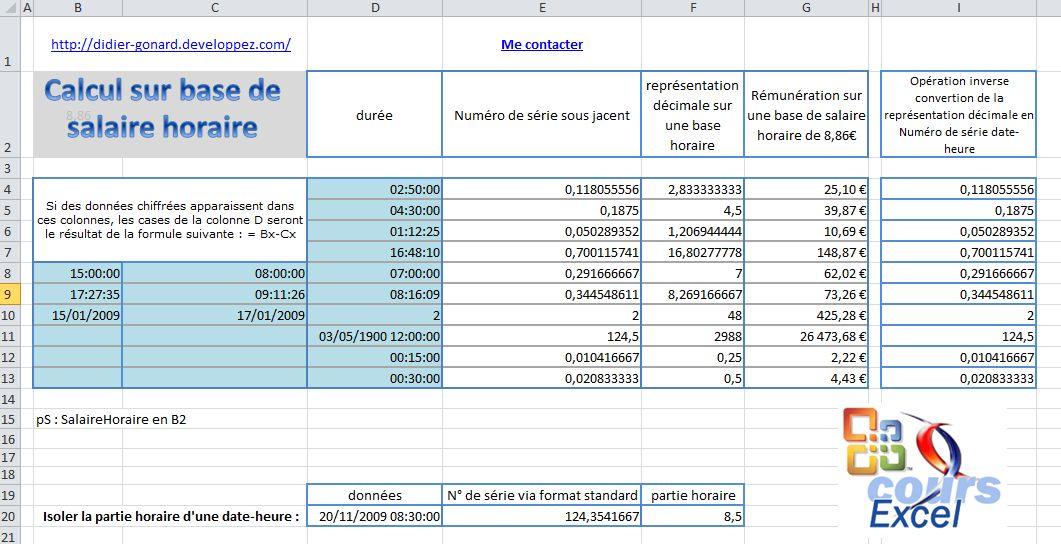 Calcul Salaire Horaire
